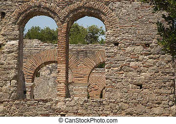 Detail shoot of Roman gate in Butrint, Albania - Close up ...