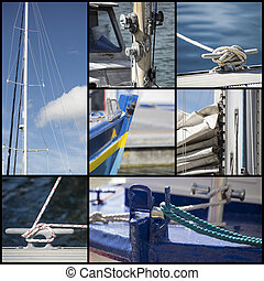 Detail shot collage of yacht sailboats - Collection of ...