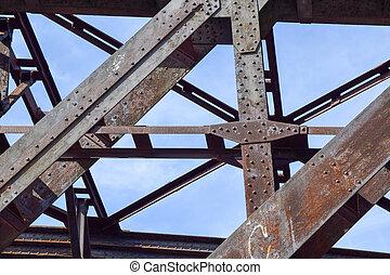 railway bridge - detail shot of beams of an old and rusty...