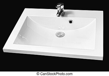 detail shot of white ceramic hand wash basin iisolated on...
