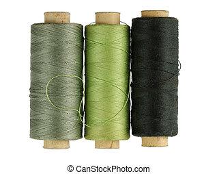 Detail spools of thread