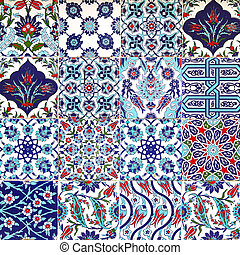 Detail turkish blue tiles texture on the wall background in Istanbul old city, Turkey