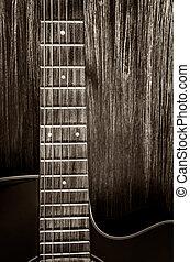 detail, van, akoestische guitar, in, ouderwetse , stijl, op,...