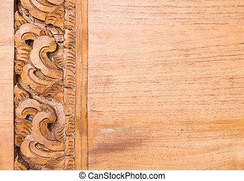 detail, van, de, bloem, gekerfde, frame