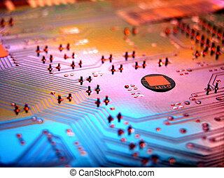 detail, van, de, kringen, van, een, computer, moederbord
