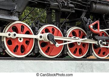 detail, van, de, wielen, op, een, stoom trein