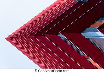 detail, van, een, rood, wolkenkrabbers, in, de, hemel