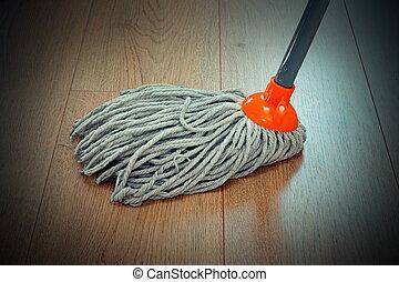 Was vloer houten huis dweilen poetsen