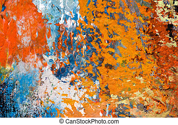 detail, van, olieverfschilderij