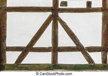 detail, van, oud, historisch, frame, woning