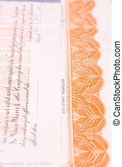 detail, van, usa, het certificaat van de voorraad, sierlijk, grens