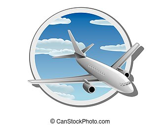 Detail vector illustration of plane in the sky