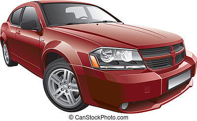Detail vector image of American mid-size car, isolated on white background. File contains gradients and transparency. No blends and strokes. Easily edit: file is divided into logical layers and groups.