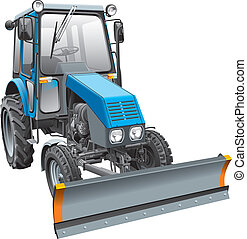 blue snow fighter tractor - Detail vector image of blue snow...