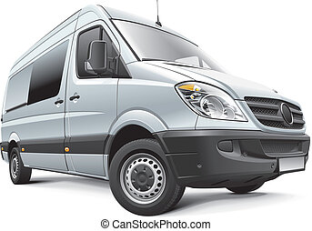 Detail vector image of Germany full-size van, isolated on white background. File contains gradients, blends and transparency. No strokes. Easily edit: file is divided into logical layers and groups.