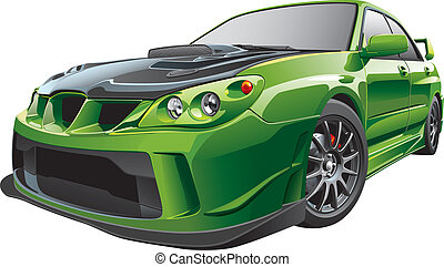 Detail vector image of green custom car, isolated on white background. File contains gradients and transparency. No blends and strokes. Easily edit: file is divided into logical layers and groups.