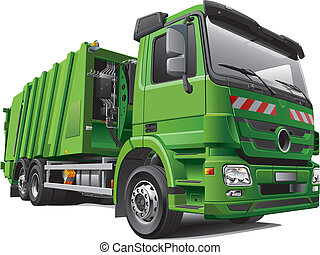 Detail vector image of modern garbage truck - rear loader, isolated on white background. File contains gradients and transparency. No blends and strokes. Easily edit: file is divided into logical layers and groups.