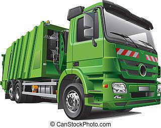 modern garbage truck - Detail vector image of modern garbage...