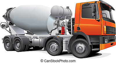 Detail vector image of modern large concrete mixer, isolated on white background. File contains gradients. No blends and strokes. Easily edit: file is divided into logical layers and groups.
