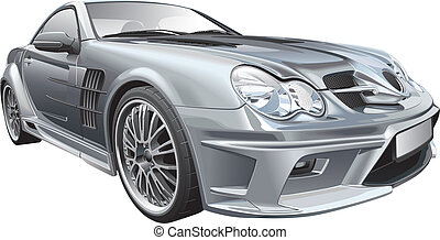 Detail vector image of silver customized compact roadster, isolated on white background. File contains gradients, blends and transparency. No strokes. Easily edit: file is divided into logical layers and groups.
