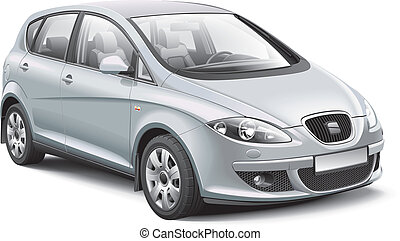Detail vector image of silver Spanish compact MPV, isolated on white background. File contains gradients and transparency. No blends and strokes. Easily edit: file is divided into logical layers and groups.