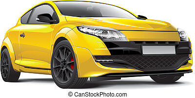 French hot hatch - Detail vector image of yellow French hot...