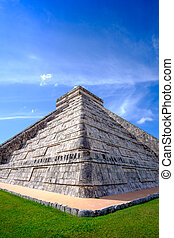Detail view of famous Mayan pyramid in Chichen Itza