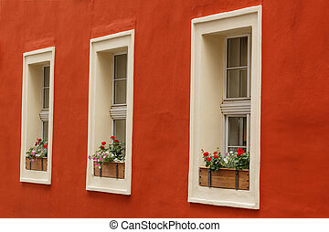 Detail view of three old windows