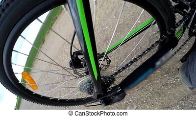 Detail view on a gear system of a mountain bike. Biking in...