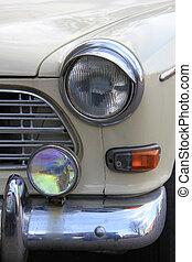 detail, von, a, jahrgangsauto, front