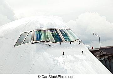 detail, von, flugzeug, nase, mit, cockpit, fenster