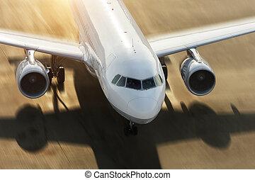 detail, von, gewerblich, düsenverkehrsflugzeug, zwingen, auf, startbahn