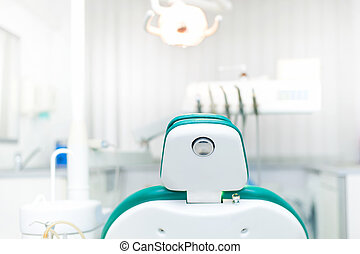 detail, von, zahnarzt- stuhl, an, lokal, dental, privat, klinik
