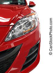 detail, voorkant, rode auto, helft
