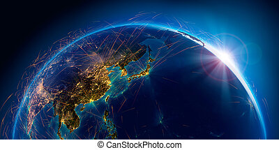 Detailed air routes on Earth. 3D rendering - Planet Earth...