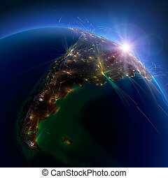 Detailed air routes on Earth. Argentina and Chile. 3D rendering