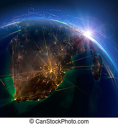 Detailed air routes on Earth. South Africa and Madagascar. 3D rendering