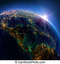 Detailed air routes on Earth. The countries of Central...
