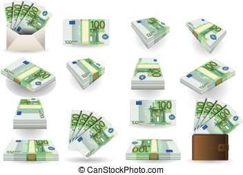full set of hundred euros banknotes - Detailed animation of...