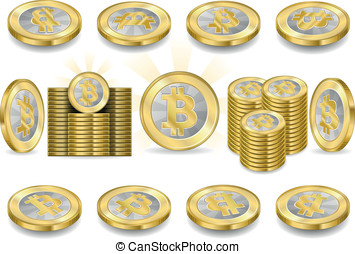 Set of One Bitcoins Isolated on White - Detailed animation...