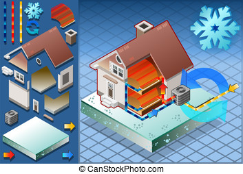 Isometric house with conditioner in heat production -...
