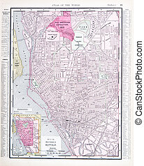 Detailed Antique Color Street Map Buffalo New York