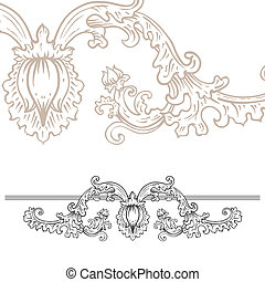 Detailed art-nouveau decorative divider as vintage engraved rose rod, with close up fragment