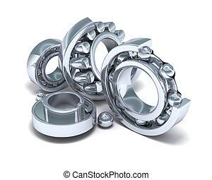 Detailed bearings production on white