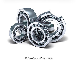 Detailed bearings production over white