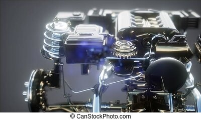 detailed car engine and other parts or the car