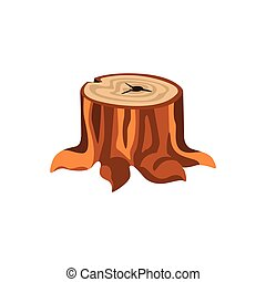 Detailed cartoon tree stump with roots