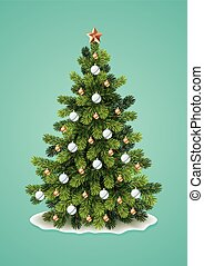 Vector illustration of detailed Christmas tree on turquoise background. Eps10.