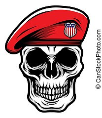 Detailed Classic Skull Head Wearing Red Military Army Beret Illustration