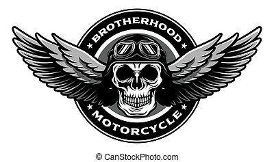 Detailed Classic Skull Head Wearing Retro Biker Helmet and Pilot Glasses With Spreading Wings Motorcycle Badge Design